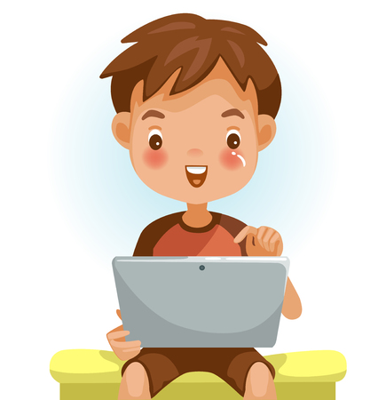 Boy using tablet. Looking , touching the screen with a pleasant surprise. Sitting on a chair in home. Happy child using online Internet with tablet. Enjoy with learning technology. Vector illustration Illustration