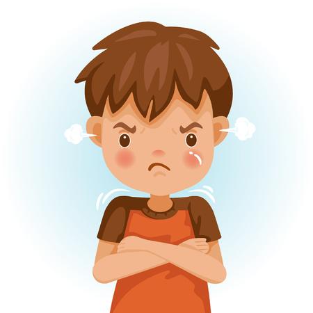 Bambino arrabbiato. Il ragazzo con una maglietta rossa sta esprimendo rabbia. Eccitazione e cipiglio. Personaggi dei cartoni animati, illustrazioni vettoriali, isolati su sfondo bianco.