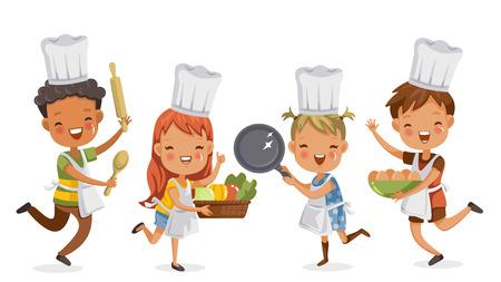 Dzieci gotują. Chłopcy i dziewczęta razem szczęśliwie przygotowują sprzęt do gotowania. mieści naczynia kuchenne, warzywa i jajka. koncepcja to uczenie się i ćwiczenie chwil dzieciństwa. Ilustracje wektorowe
