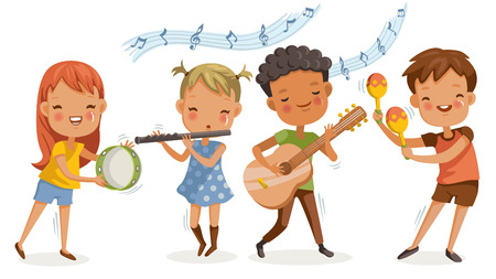 Children singing. boys and girls singing together happily. cute cartoon Enjoy the rhythm. Have fun in childhood.Cute Cartoon Character Personality Foto de archivo - 105746703