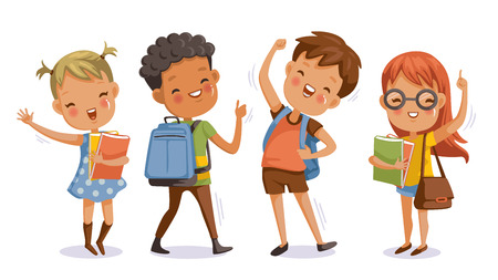 De vuelta a la escuela. niño y niña, con el pulgar hacia arriba a la mano esa mano simbólica. Niños y amigos en la escuela el primer día de clases. Niños con bolsas de estudiantes y libros. Carácter lindo. Sonrisa feliz.