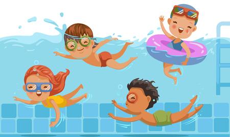 Chłopcy i dziewczęta w strojach kąpielowych pływają w brodziku dla dzieci. Podwodny widok i na wodzie. Dzieci dobrze się bawią. Wakacje w letnie wakacje Podziel się z przyjaciółmi. Sport i pływanie w wodzie dla dzieci.