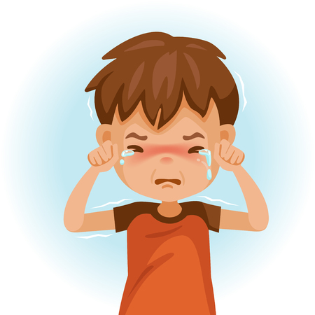 little crying boy. Childrens mood on sad regret. kid facial sad. Tears and shivering shoulders. Vector illustrations isolated on white background. Illustration