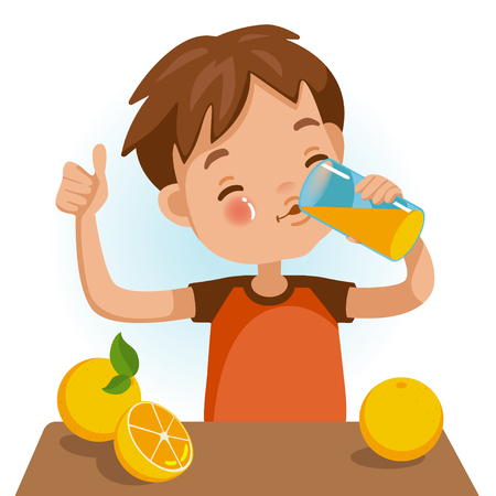 Cute boy in red shirt holding glass of  kid Drinking orange juice. Thumbs up. Emotionally. Healthy concepts and growth in child nutrition.