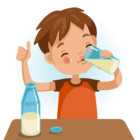 Cute boy in red shirt holding glass of  kid drinking milk.Thumbs up. Emotionally. Healthy Concepts and Growth in Child Nutrition.