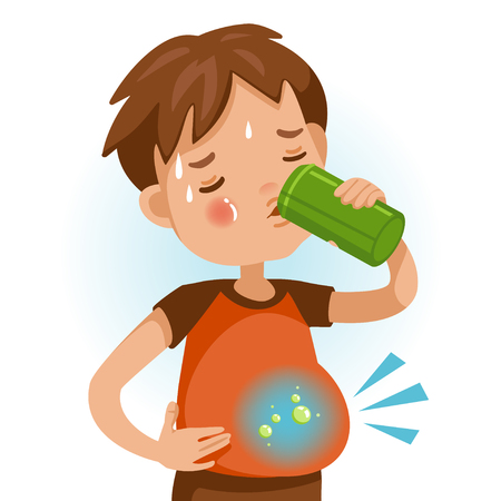 Cute boy in red shirt holding Beverage cans of  kid drinking sparkling water. Abdominal pain, flatulence, gas in the stomach. Bad for children's health