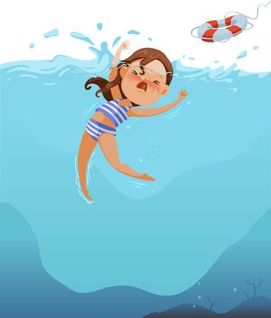 Jolie petite fille en maillot de bain a des crampes. Les enfants noyent la mer profonde. Efforts au-dessus de l'eau. Choc et panique. Demander de l'aide. Des pneus en caoutchouc sont lancés pour sauver des vies Vecteurs