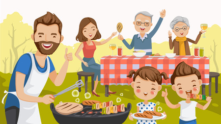 Father,mother,daughter,son,grandfather and grandmother,are barbecue in the nature of summer.big family.grilled meat,sausages, eat,drink.thumbs up,hand greetings,happy picnic,holiday travel. vector Illustration