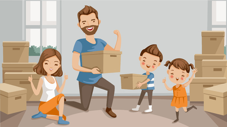Family moving packing and unpacking boxes, husband and wife, son, daughter, celebrating or exhausted at the end of packing. cartoon character parents and lovely children. Vector illustration isolated.