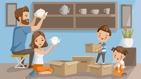Moving house family. Men arranged of ceramics. Woman opening a teapot box. boy holding a box. girl embracing a doll. They are decorating the shelves in the living room. concept of a happy family home.