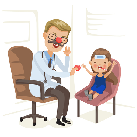 Doctor examination and little girl is sick. Red Nose Day, health workers wearing a red nose and interacting with children. Doctors Day, doctors both alone and with patients. Vector  illustration. Illustration