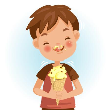 Junge, der Eis isst. Die emotionale Stimmung im Gesicht des Kindes fühlt sich gut an. Lecker und sehr glücklich. Das Eis auf den Wangen lecken. Netter Cartoon im roten Hemd