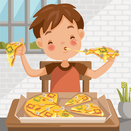 Boy eating pizza. sitting at the table  eating luncheon. Delicious food in Pizza box. at home in the dining room. cute little boy cartoon In red shirt. emotional on child's face feels good very happy. Vettoriali