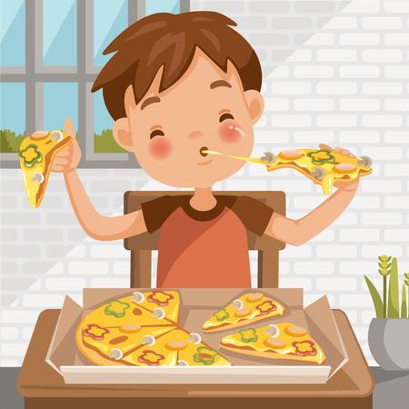Niño comiendo pizza. sentado a la mesa comiendo el almuerzo. Comida deliciosa en caja de pizza. en casa en el comedor. Historieta linda del niño pequeño en camisa roja. emocional en la cara del niño se siente bien muy feliz. Ilustración de vector
