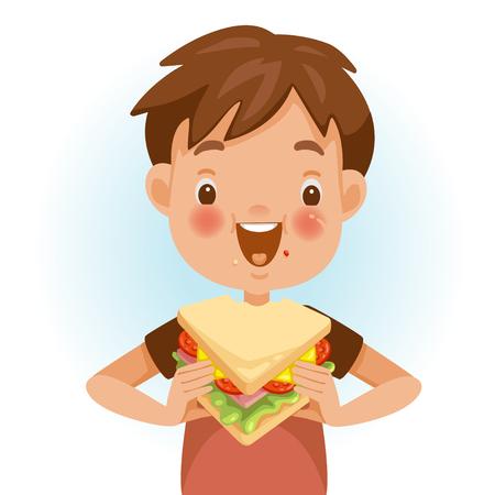 Junge isst Sandwich. Die emotionale Stimmung im Gesicht des Kindes fühlt sich gut an. Lecker und sehr glücklich. Gute Sandwich-Häppchen. Netter Cartoon im roten Hemd