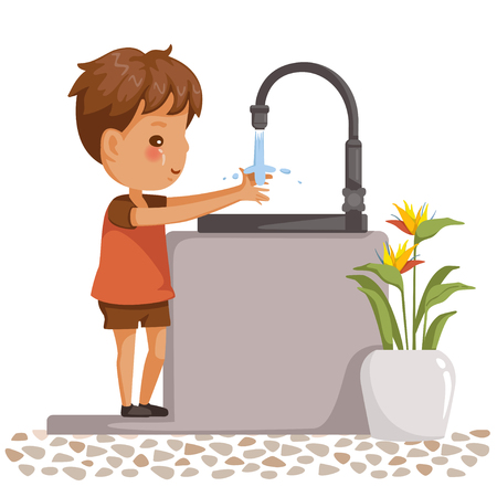 boy washing hands. Side view of children standing at the sink. little boy washing his hands in the bathroom. Vector cartoon illustrations isolated on white background.