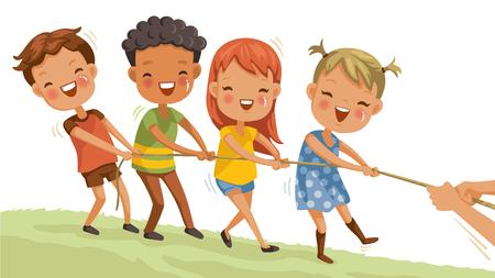 Grupa dzieci bawiące się w przeciąganie liny w parku. dziewczyny i chłopcy bawią się. szczęśliwe dzieci bawiące się razem na trawie podczas wakacji Ilustracje wektorowe