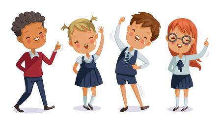 Di nuovo a scuola. ragazzo e ragazza, bambini uniform. simpatico personaggio. Sorriso felice.