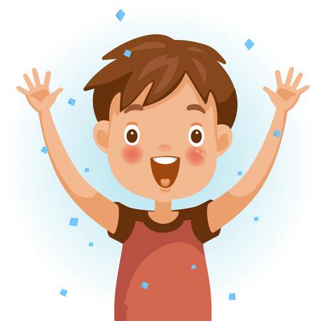 Ragazzo di eccitazione. Una persona in camicia rossa che solleva le mani. Il viso è sorridente e aperto con uno stato d'animo molto eccitato. Sentirsi bambini molto felici. Illustrazione vettoriale isolato sfondo bianco.