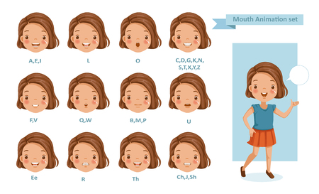 Mouth girl animation. lip sync collection for animation.  talking mouth. Accent and pronunciation speak. tongue and articulate