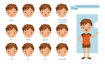 Mouth Boy Animation. lip sync collection for animation.  talking mouth. Accent and pronunciation speak. tongue and articulate Stock Illustratie