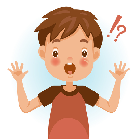 Surprised children. Boy mark shocked, question mark and exclamation. Acting and feeling of a person's face