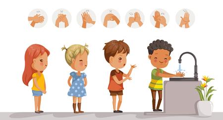 Kinder waschen. Perspektive von Kindern, die am Waschbecken stehen. in der Schule warten Mädchen und Jungen darauf, sich zu waschen. Diagramm, das zeigt, wie die rechte Hand gereinigt wird. Schritte zum Händewaschen im Kreis.