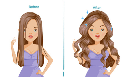 Curling hair of woman.before and after Curling. difference is obvious. comparative, positive and negative emotions.unhappiness, satisfaction. smile and scowl.  Illustrations for styling and product Illustration