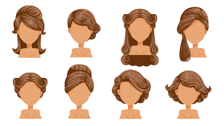Female retro hair.  Vintage Hairstyles of women. Hair curling, finely curled hair. Old-fashioned. The classic and trendy. salon hairstyles for haircut