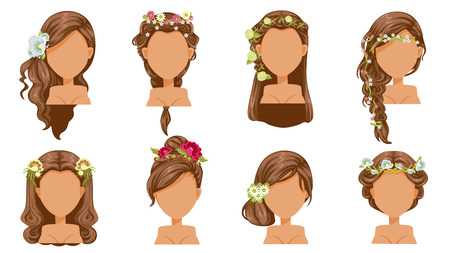Flower  hair. bride hairstyle, princess accessories. beautiful  hairstyle. modern fashion for assortment Illustration