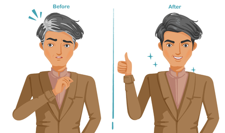 Gray hair of men In brown suit. Feeling unconvincing and confident. difference of premature gray hair and good hair health. Illustrations for hair coloring and products. Vector isolated.