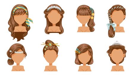 accessoires pour cheveux, épingle à cheveux, couronne, épingle à cheveux, coupe de cheveux, belle coiffure. mode moderne pour l'assortiment Vecteurs