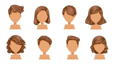 short hair woman Beautiful  hairstyle Black hair woman set. modern fashion for assortment Illustration