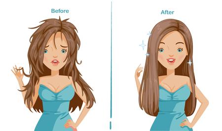 Haar der Frau glätten. vor und nach dem Richten. Unterschied ist offensichtlich. vergleichende, positive und negative Emotionen