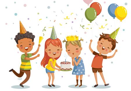 Festa di compleanno dei bambini. Felice gruppo di ragazze e ragazzi che si divertono insieme. Illustrazione vettoriale isolato sfondo bianco. Vettoriali