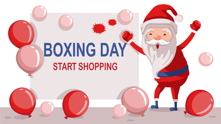 Boxing Day Sale. Cute Santa Claus with red boxing glove. wearing boxing gloves with boxing day sale text isolated and Red balloons on white. Vector illustration of boxing day sale. vector Illustration