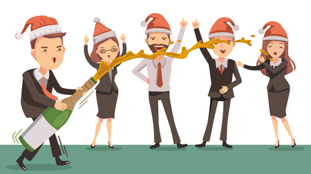Celebrates New Year. Business team  together at work. Cartoon supervisor is opening a bottle of champagne. Happy colleagues. Christmas around the office. Life-work concept. Vector illustrations