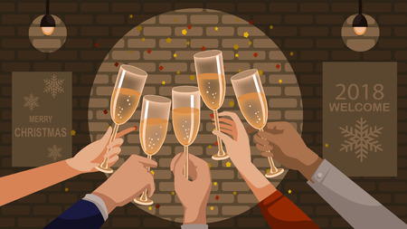 New Year's celebration. Hand held glass. Group of people cheering with champagne and Clink glasses. Congratulations on the party together. vector illustration. Isolated restaurant interior background.