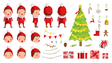 Christmas Boy  in red clothes. creation set of Christmas concept. animated character. Icons with different types of faces and hats, emotions, front, rear, side view of male person.Vector
