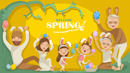 Easter bunny costumers. welcome spring. bunny ears and easter eggs. family Character group. Father, mother, grandfather, grandmother, son, daughter, holiday background trees are budding. vector