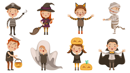 Set of childrens characters for Halloween. Ghost, Cat demon, Costumes Dracula, witches,  monster, mummy, Zombies, Pirates, pumpkin. Fantasy concept. Vector illustration Illustration