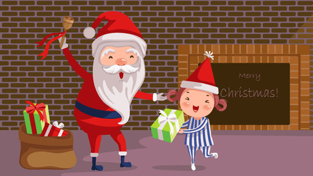 Santa giving Gift Box for little cute girl. Christmas night  near the fireplace at home. cartoon Vector illustrations.