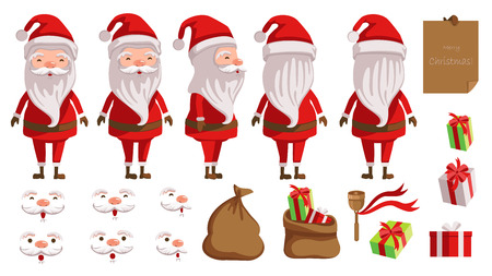 Santa Claus. creation set of Christmas concept. animated character. Icons with different types of faces and hats, emotions, front, rear, side view of male person. Vector illustrations Isolated Illustration