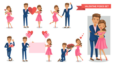Valentine Couple characters set. Are holding together Balloons, bouquets, roses, hearts, paper, Gift box, hugging,Concept of love. Vector  illustration. isolated on white background