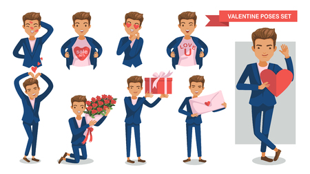 Valentine Man poses set. Lipstick on the face, megaphone, Heart heart, gifts, confession of love, symbol, holding a bouquet, envelope, Hands up, Valentines offers, concept of love, happiness of male Illustration