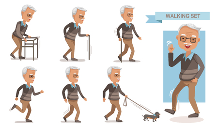 Elderly man walking set.exhausted old man walking with a cane. Full length of a casual senior man walking and smiling. portrait of a mature man with a walker. dog leash. isolated on white background