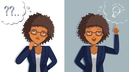 Business woman thinking. Emotions and gestures. Think not, do not understand, Think out. Concept The sharpness of the vision superior to competitors. Contradictory emotions.  illustrations vector. Illustration
