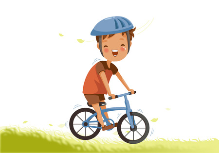 Boy riding bike Little Boy a bicycle on green pasture. Child cycling outdoors in helmet. Posture kid riding bikes in nature. cartoon riding bicycle on path. Vector illustrations isolated on white background. Ilustrace