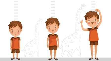Height of child grow up. Little boy measuring his height on white color background. One boy in three levels. Short, medium, high,Height. difference child growth concepts. Vecteurs