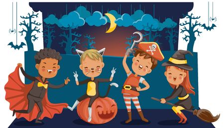 Halloween funny. happy children boys and girls in costumes and makeup on a celebration of halloween. Cartoon vector illustration isolated white background